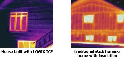 Thermal imaging showing energy efficiency